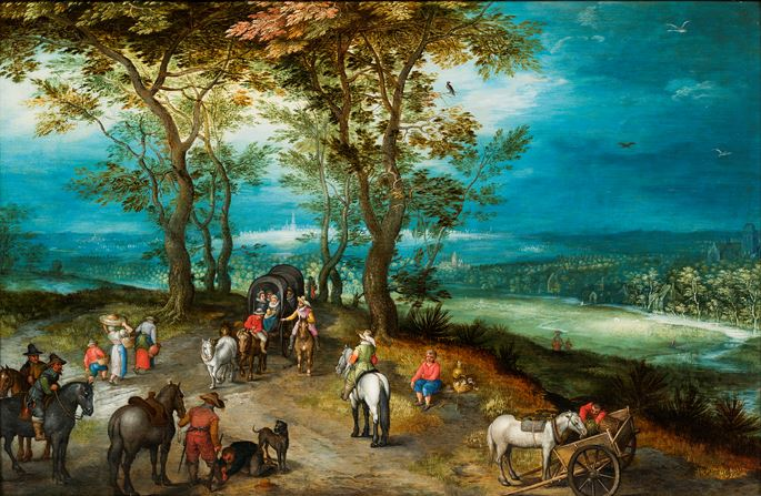 Jan Brueghel the Younger - An Extensive Landscape with Horsedrawn Cart and Travellers on a road.  | MasterArt