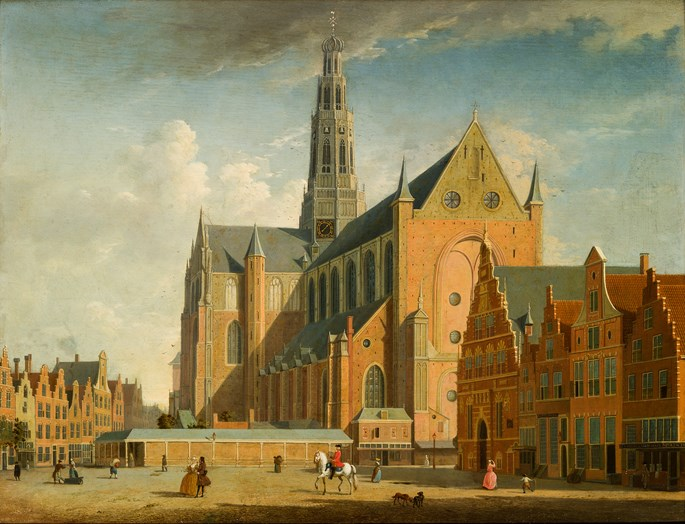 Jan ten Compe - A view of the Grote Market, Haarlem, from the Northwest. | MasterArt