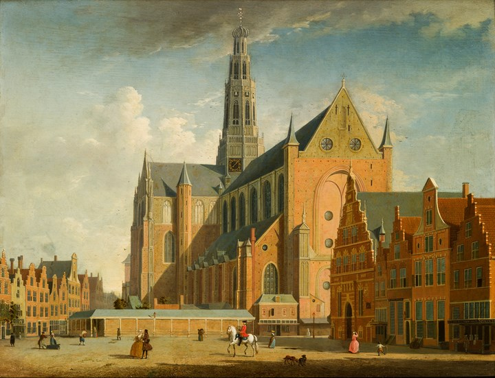 A view of the Grote Market, Haarlem, from the Northwest.