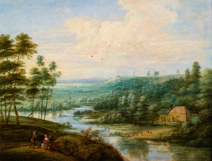 Extensive River Landscape with figures resting.
