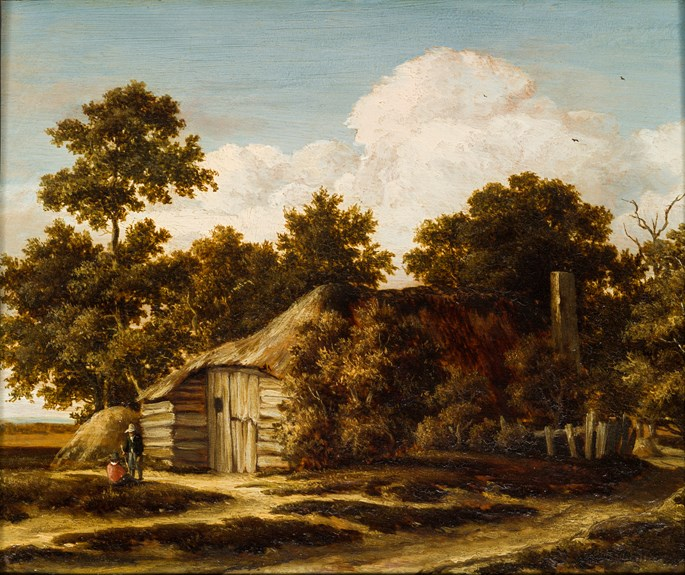 "Meindert Hobbema - A Cottage at the Edge of a Wood, ""La Grange"".  