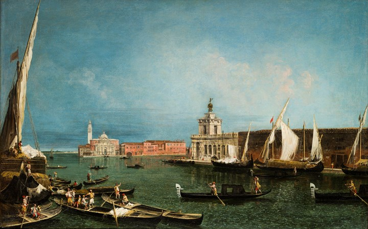 The Punta della Dogana from the Ca'Giustinian, looking South across the Bacino di San Marco towards the Church of San Giorgio Maggiore .