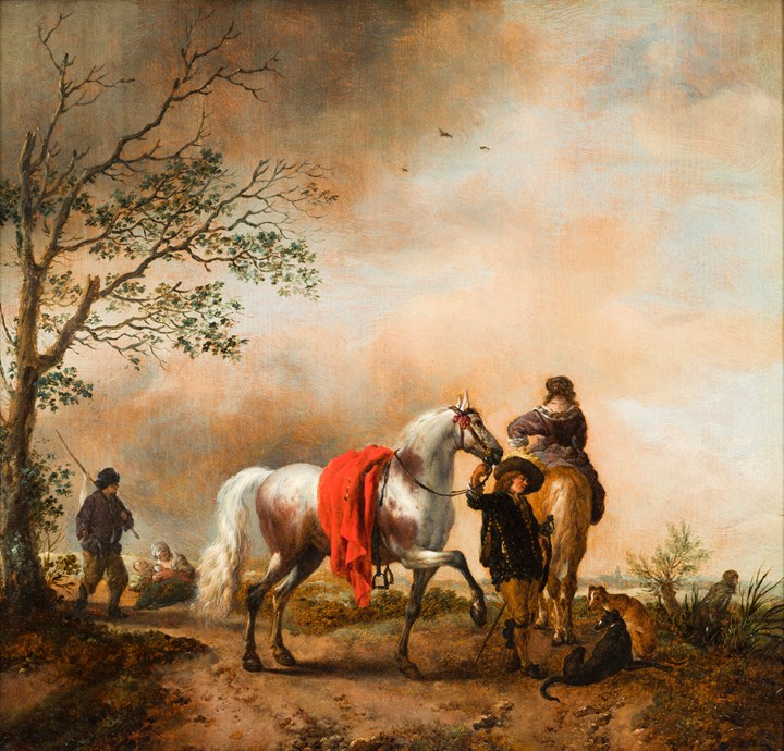 A Cavalier holding a Horse together with a mounted Lady and Dogs.