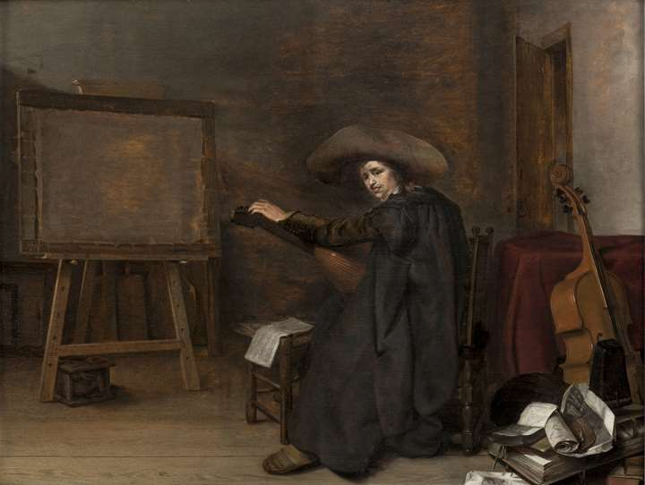 A Painter in his Studio, Tuning a Lute