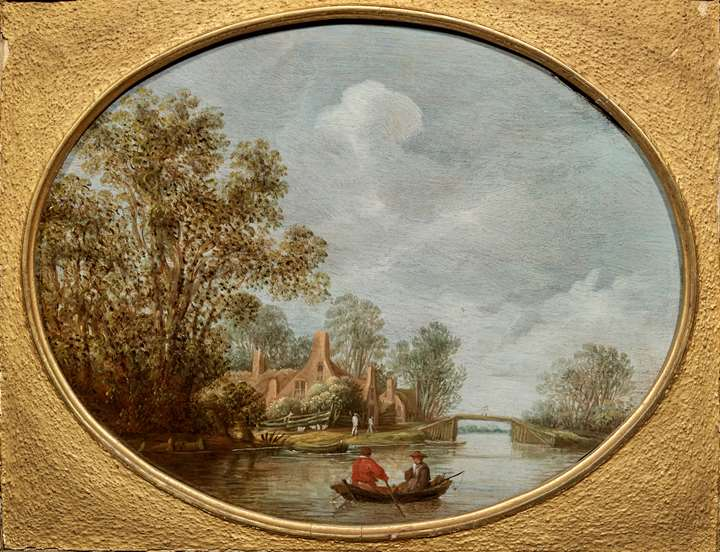 River Landscape with a couple in a boat