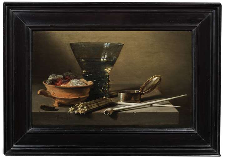 A Toebackje: a Still Life with a Berkemeier, Matches, clay Pipes, a Tobacco Box, and a Brazier.