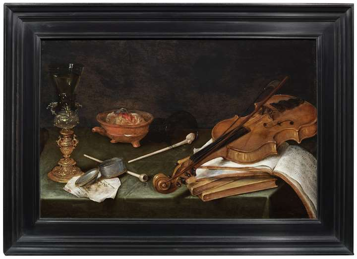 Still Life with Smoking Implements, a gilt Glass Holder, a Violin and a pile of Books: The Five Senses.