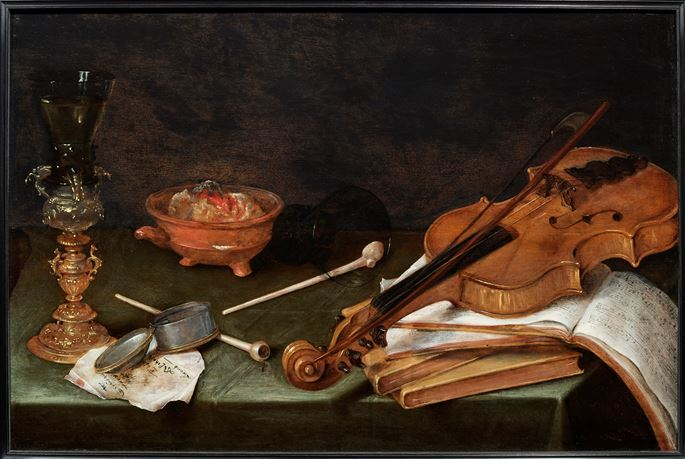 Pieter Claesz - Still Life with Smoking Implements, a gilt Glass Holder, a Violin and a pile of Books: The Five Senses.  | MasterArt