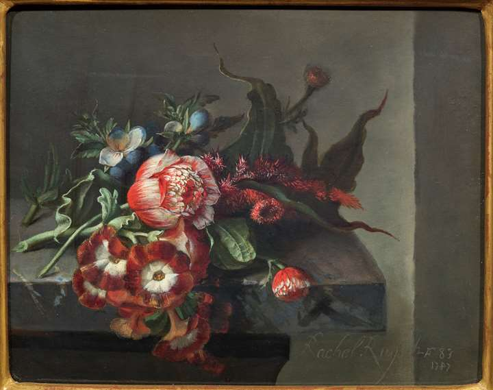 Still Life of anemones and other Flowers on a Ledge