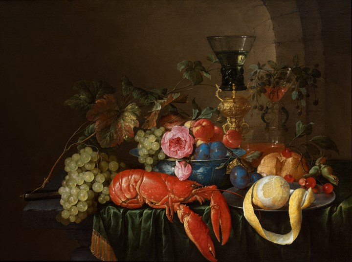 Still Life with a Lobster, a peeled lemon on a pewter plater, a roemer, and fruits on a stone ledge with a green drape