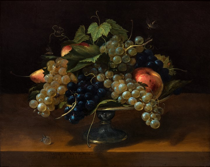 Still Life with grapes, peaches and pears and a self-portrait