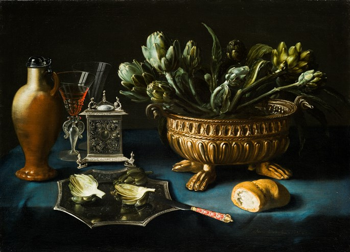 Alexander Adriaenssen - Still-Life with Artichokes in a Silver gilt wine cistern and other Silver Objects  | MasterArt