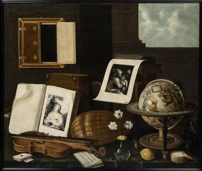 Sebastian Stoskopff - Vanitas with a Celestial Globe (The Five Senses)  | MasterArt