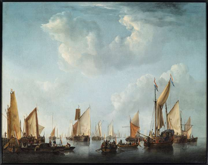 A Calm with a States Yacht and other Vessels in a crowded harbor scene