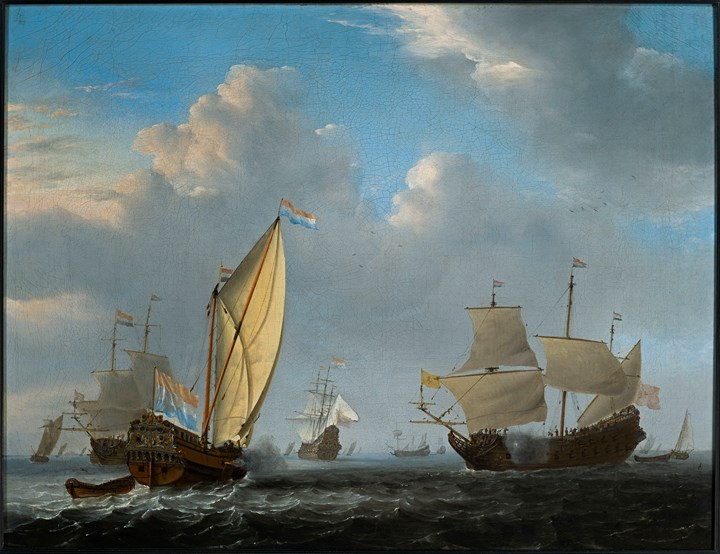 A States Yacht from the Admiralty of Amsterdam before a moderate breeze, meeting a Two-decker.