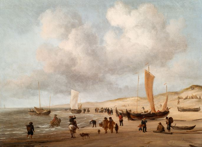 Willem van de Velde the Younger - Fishing Pinks on the beach at Scheveningen.  | MasterArt