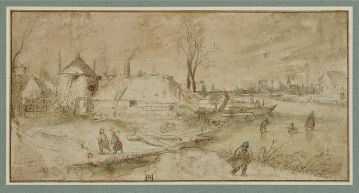 Winter Landscape with a Farm close to a frozen river