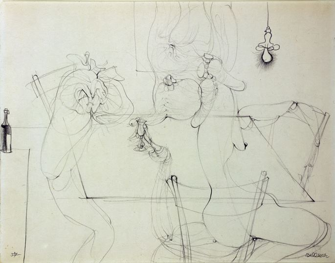 Hans BELLMER - Étude de quatre figures anthropomorphes autour d'une table | MasterArt