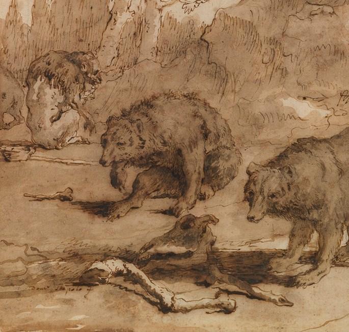 Giovanni Domenico TIEPOLO - Bears and a Monkey in a landscape | MasterArt
