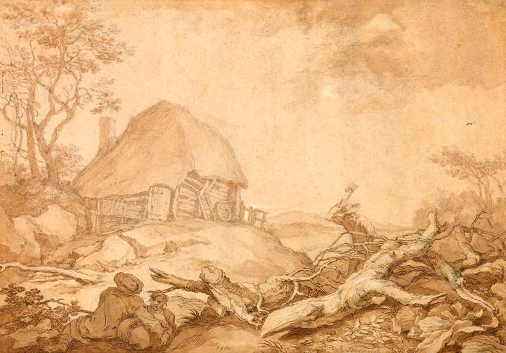 A thatched shed; a woodcutter and resting peasants in the foreground