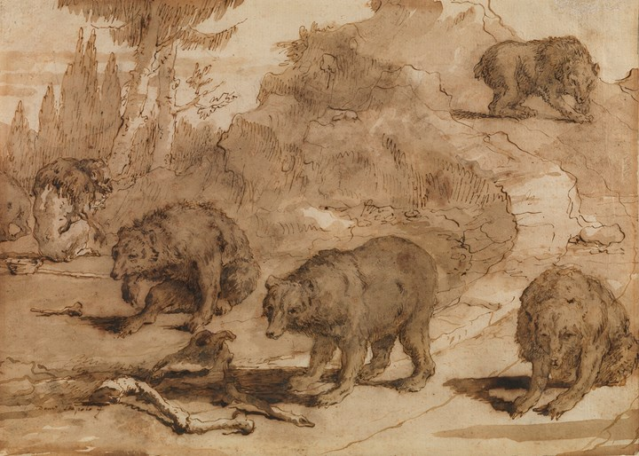 Bears and a Monkey in a landscape