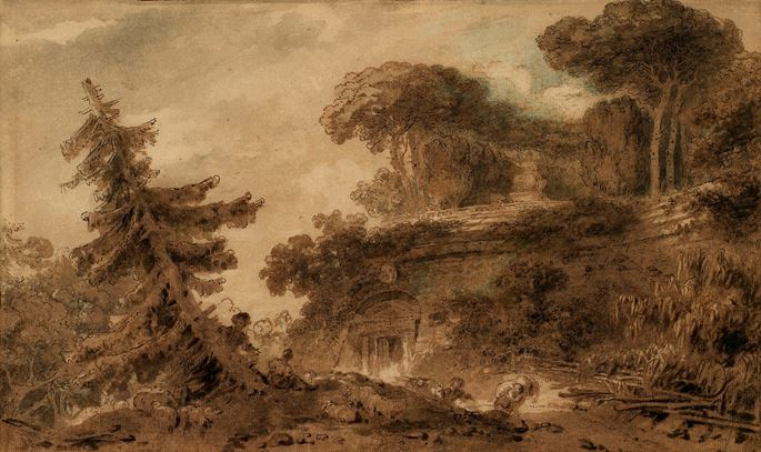 Jean-Honoré Fragonard - Lovers in a park with antique ruins | MasterArt