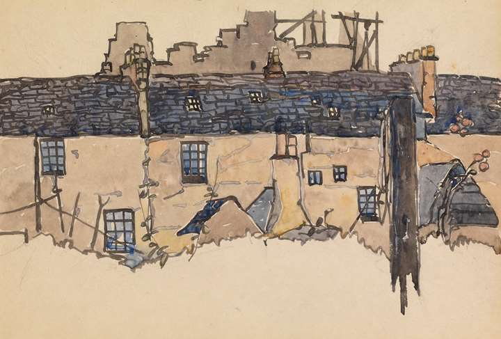 Terraced houses in front of MacLellan's Castle, Kirkcudbright