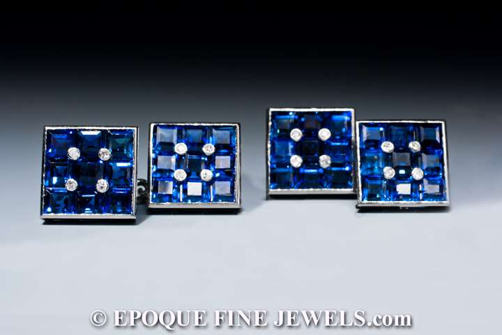A beautiful pair of sapphire and diamond cufflinks,