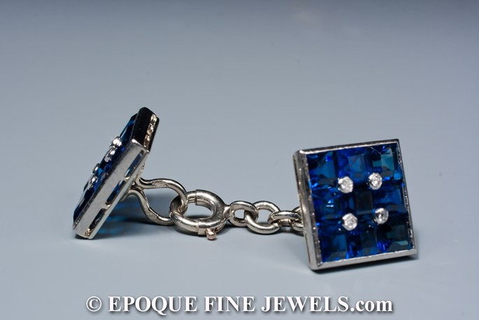 A beautiful pair of sapphire and diamond cufflinks, | MasterArt