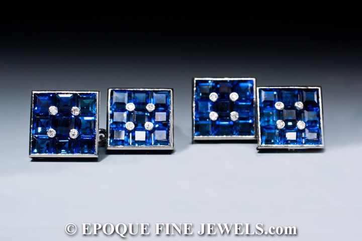 A beautiful pair of sapphire and diamond cufflinks