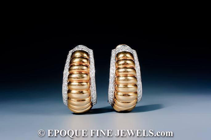 David Webb - A fine pair of 18 karat gold and diamond earrings,    | MasterArt