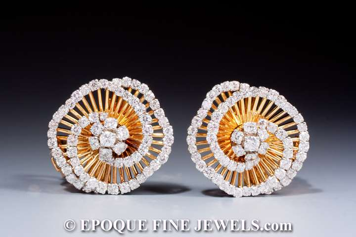 A gorgeous pair of diamond tourbillon 'cheveux d'ange' earrings,