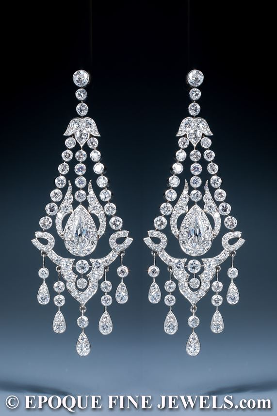 A magnificent early 20th century pair of diamond chandelier earrings | MasterArt