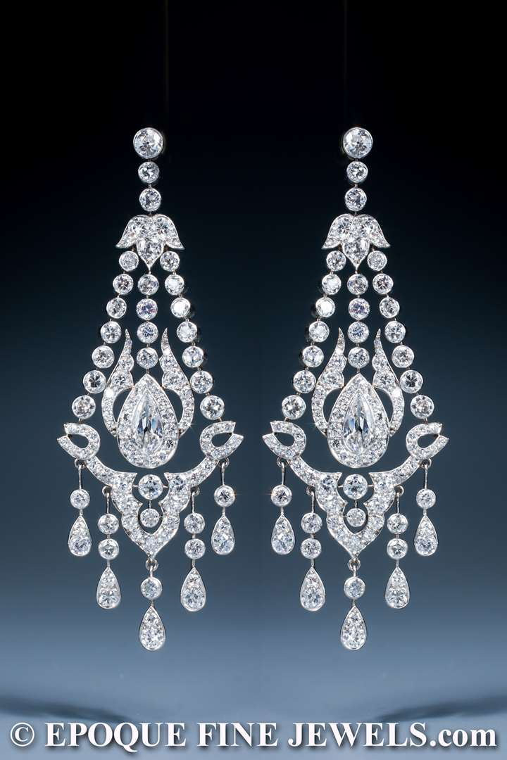 A magnificent early 20th century pair of diamond chandelier earrings