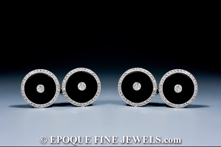 A pair of Art Deco onyx and diamond cufflinks,
