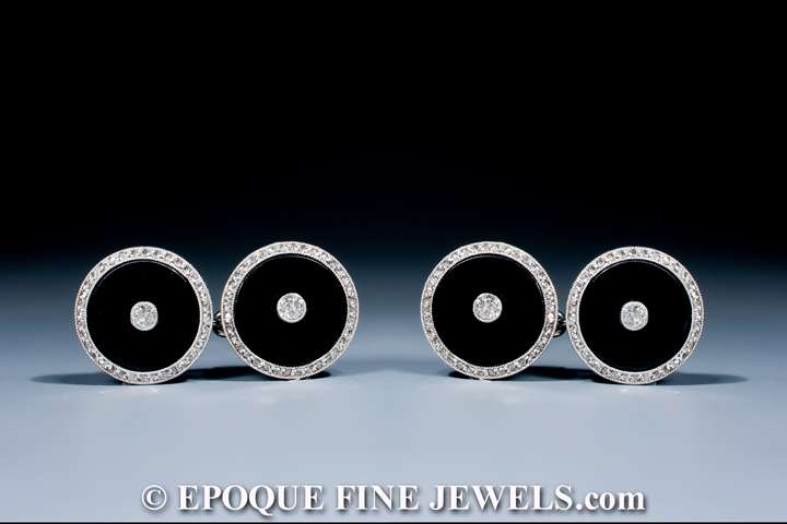A pair of Art Deco onyx and diamond cufflinks