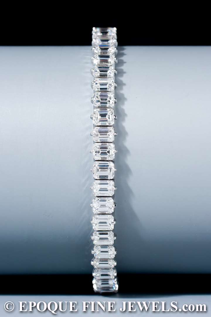 A very fine emerald cut diamond line bracelet