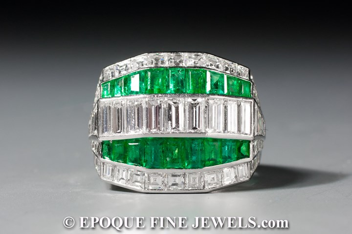 A wonderful Art Deco emerald and diamond ring