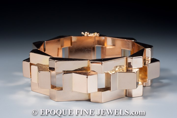 An 18 karat yellow gold tank bracelet
