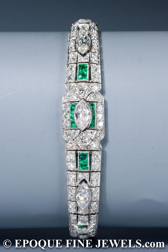An Art Deco emerald and diamond bracelet,  | MasterArt