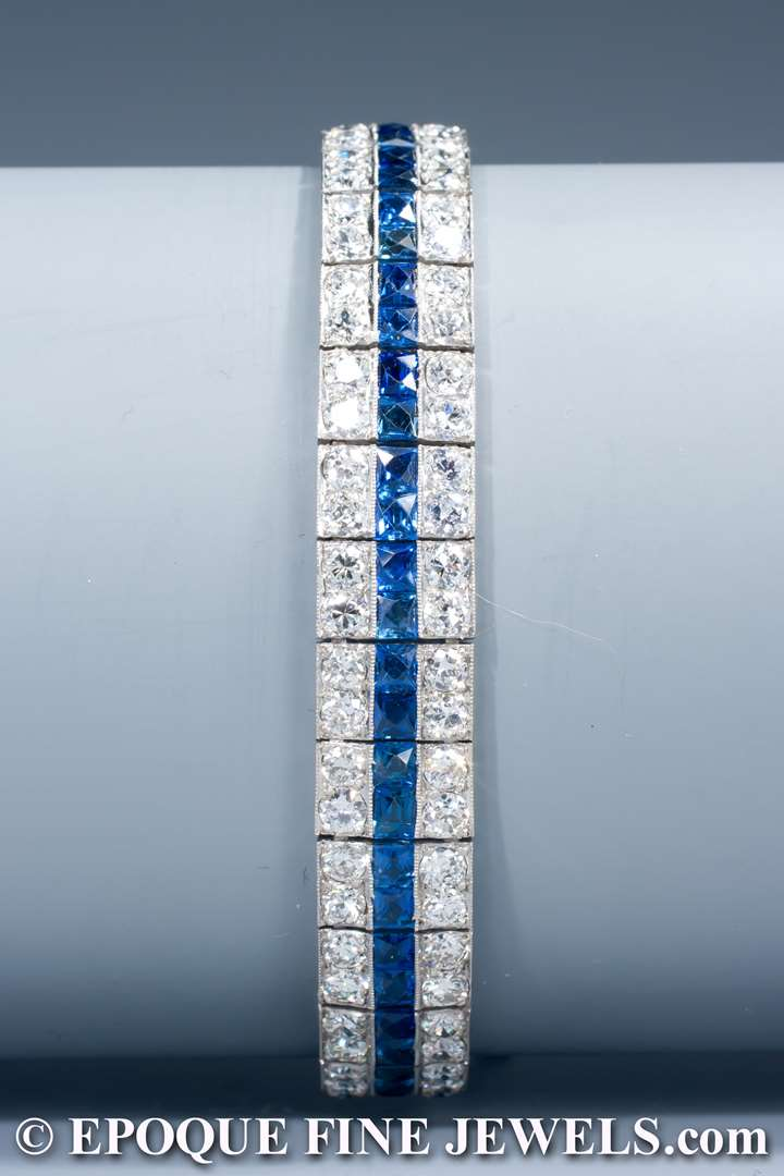 An elegant Art Deco sapphire and diamond bracelet