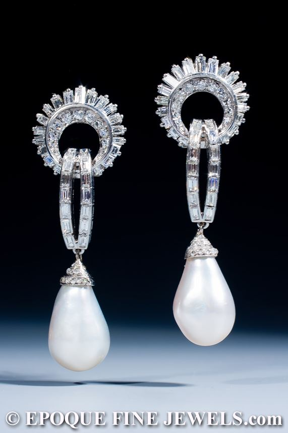 An exquisite pair of natural pearl and diamond earrings | MasterArt