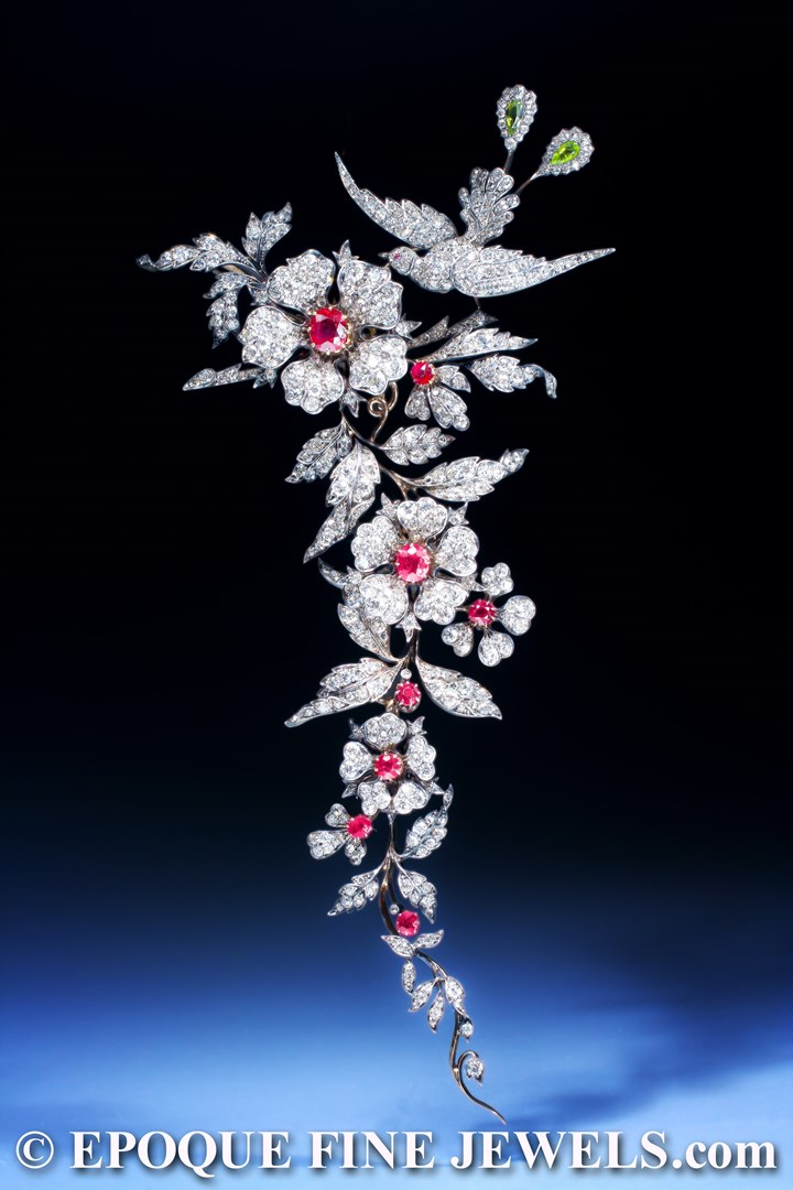 An important 19th century ruby and diamond branch brooch