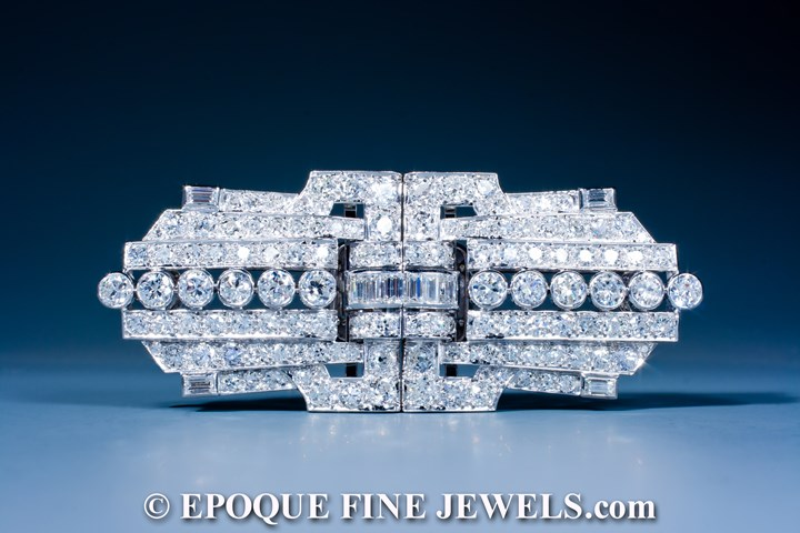 An impressive Art Deco double clip brooch