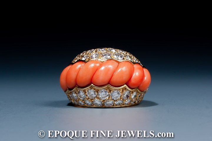 A very fine coral and diamond cocktail ring