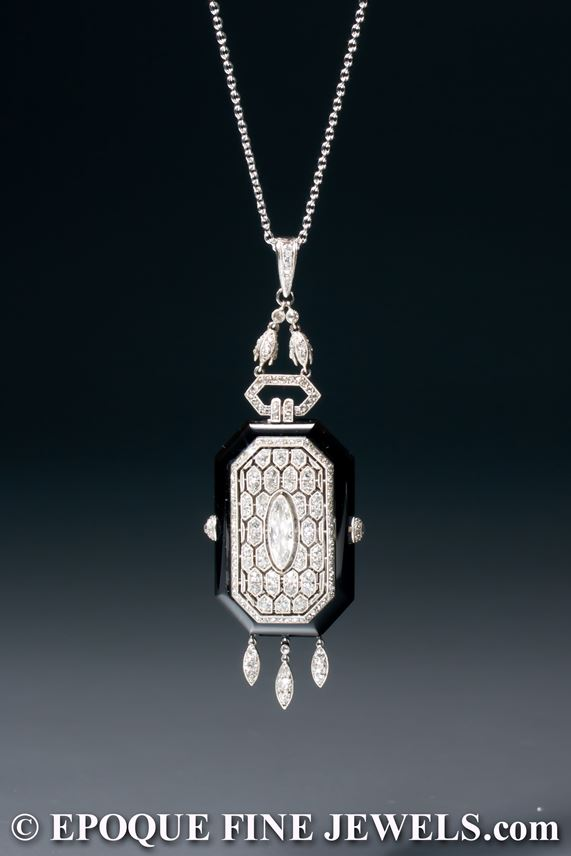 Boucheron - A very rare Art Deco onyx and diamond pendant watch | MasterArt