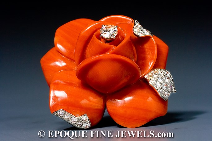 Cartier - A striking coral and diamond flower brooch | MasterArt