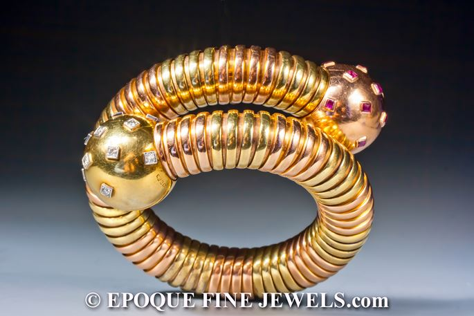 Cartier - An exquisite two-colored gold tubogas bracelet with ball terminals | MasterArt