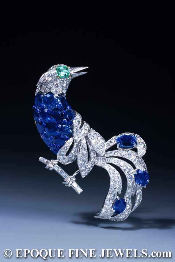 Cartier - An impressive sapphire, emerald and diamond bird brooch | MasterArt
