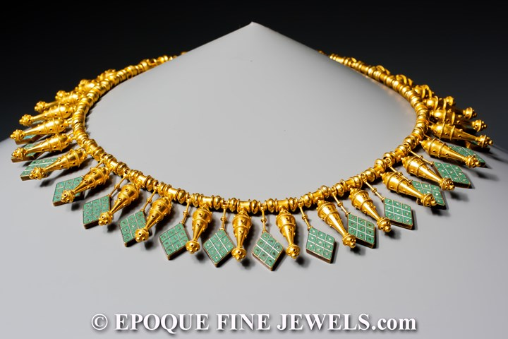 A rare archeological revival gold and micromosaic necklace,